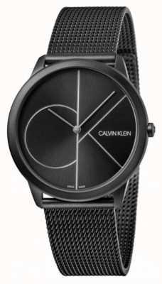 Calvin Klein | mínimo | pulseira de malha de aço preto | mostrador preto K3M5145X
