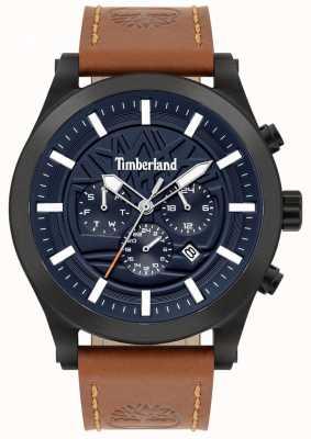 Timberland Rua esclarecido | pulseira de couro marrom | mostrador azul | 15661JSB/03
