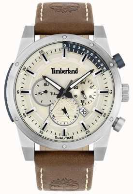 Timberland Buscador ao ar livre | pulseira de couro marrom | mostrador prateado | 15951JS/04