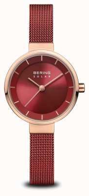 Bering   solar para mulheres   ouro rosa polido   malha vermelha   mostrador vermelho   14627-363