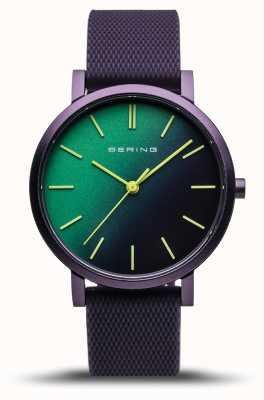 Bering | verdadeira aurora | pulseira de borracha roxa | mostrador roxo verde | 16934-999