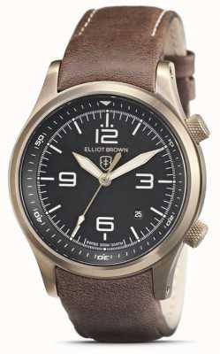 Elliot Brown Mens Canford | mostrador preto | pulseira de couro marrom 202-022-L22