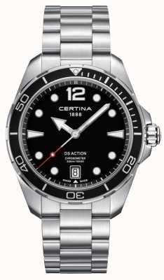 Certina Mens ação ds | cronômetro | aço inoxidável C0324511105700