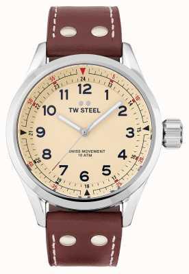 TW Steel | mens | volante suíço | mostrador creme | pulseira de couro marrom | SVS101