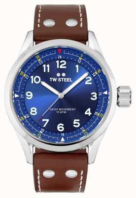 TW Steel | mens | volante suíço | mostrador azul | pulseira de couro marrom | SVS102