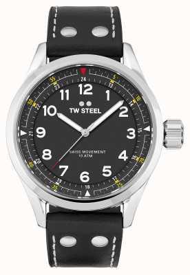 TW Steel | mens | volante suíço | mostrador preto | pulseira de couro preto | SVS103