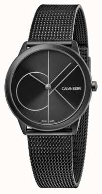 Calvin Klein Unissex | mínimo | malha pvd preta | mostrador preto K3M5245X