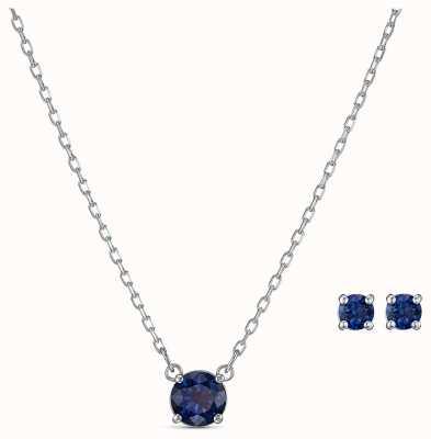 Swarovski | atrair conjunto redondo | colar e brincos azuis | 5536554