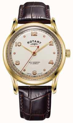 Rotary Mens edição limitada | herança | pulseira de couro marrom GS05143/03