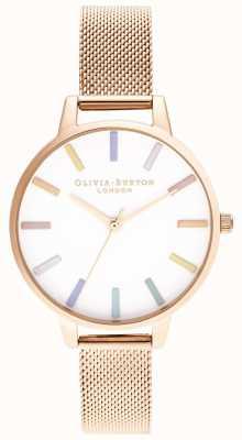 Olivia Burton | mulheres | arco-íris | pulseira de malha de ouro rosa | OB16RB24