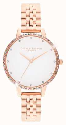 Olivia Burton | mulheres | moldura do arco-íris | pulseira em ouro rosa | OB16RB21