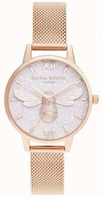 Olivia Burton | glitter dial abelha da sorte e malha de ouro rosa | OB16FB04