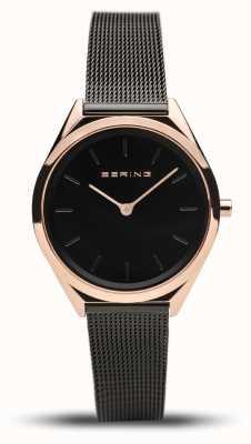 Bering | unissex | ultrafino | pulseira de malha preta | 17031-166