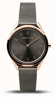 Bering   unissex   ultrafino   pulseira de malha cinza   17031-369