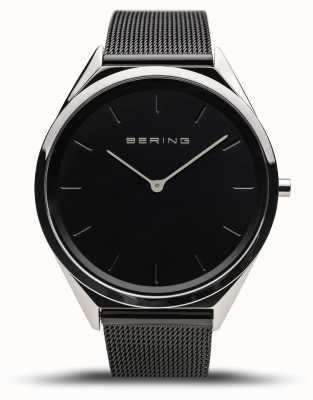 Bering | unissex | ultrafino | pulseira de malha preta | 17039-102