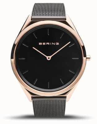 Bering   unissex   ultrafino   pulseira de malha preta   17039-166