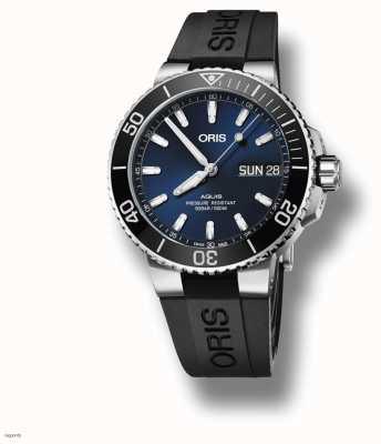 ORIS Aquis | data do grande dia | mostrador azul | pulseira de borracha preta 01 752 7733 4135-07 4 24 64EB