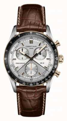 Certina Ds-2 cronógrafo 1/100 s pulseira de couro marrom C0244472603100