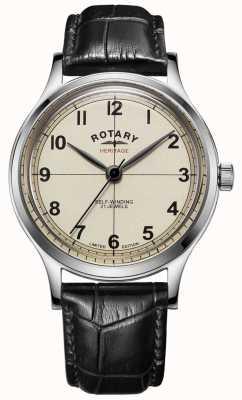 Rotary | mens edição limitada | herança | pulseira de couro preto | GS05125/32