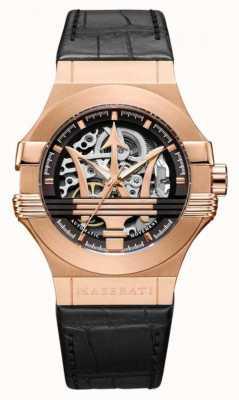 Maserati Potenza pulseira de couro preto | caso banhado a ouro rosa pvd | R8821108030
