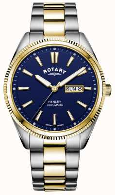 Rotary Henley masculino | pulseira de aço inoxidável bicolor | mostrador azul GB05381/05