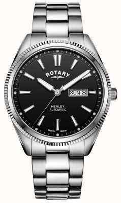 Rotary Henley masculino | pulseira de aço inoxidável | mostrador preto | GB05380/04