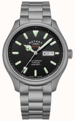 Rotary Henley masculino automático | pulseira de titânio | mostrador preto | GB05249/04