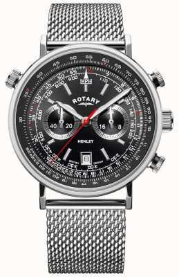 Rotary Henley masculino | pulseira de malha de aço | mostrador preto | GB05235/04