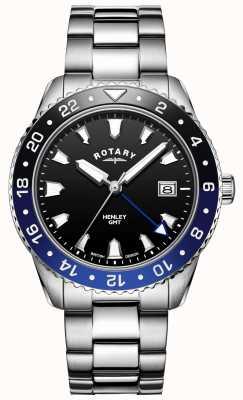 Rotary Henley masculino | pulseira de aço inoxidável | moldura de dois tons | GB05108/63