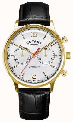 Rotary Vingador masculino | pulseira de couro preto | estojo de ouro | mostrador branco GS05206/70