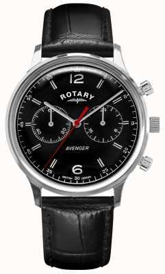 Rotary Vingador masculino | pulseira de couro preta | mostrador preto | GS05203/04