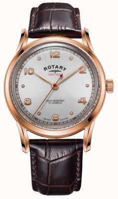 Rotary Herança da edição limitada masculina | caixa em ouro rosa | GS05144/70