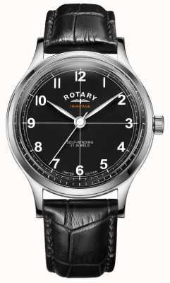 Rotary Herança de edição limitada masculina | pulseira de couro preto | GS05125/04