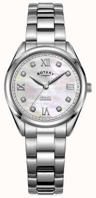 Rotary Henley das mulheres | pulseira de aço inoxidável | dial de diamante LB05110/07/D