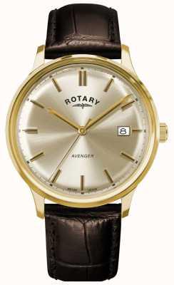 Rotary Vingador masculino | pulseira de couro marrom | mostrador de champanhe GS05403/03