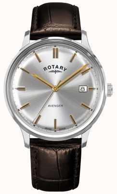 Rotary Vingador masculino | pulseira de couro marrom | mostrador prateado | GS05400/06