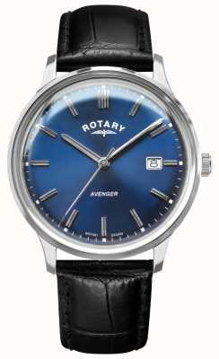 Rotary Vingador masculino | pulseira de couro preta | mostrador azul | GS05400/05