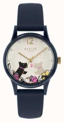 Radley | pulseira de silicone marinha para mulher | mostrador floral do motivo do cão RY2983