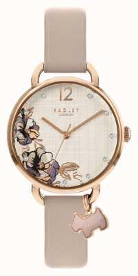 Radley | pulseira de couro rosa para mulher | mostrador com estampa floral | RY2982