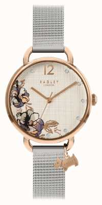 Radley | pulseira de malha prateada para mulher | mostrador com estampa floral | RY4525