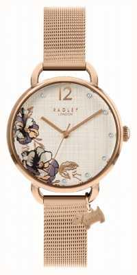 Radley | pulseira de malha de ouro rosa para mulher | mostrador floral RY4526