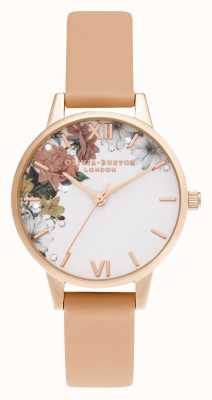 Olivia Burton | brilho floral | midi | ouro rosa | pulseira de coral | OB16BF30