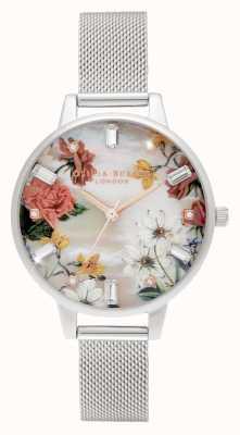 Olivia Burton Demi | dial de madrepérola com estampa de bouquet | malha de aço inoxidável OB16BF32