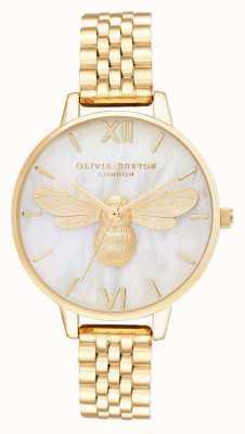 Olivia Burton Pulseira de ouro com mostrador demi em madrepérola da abelha da sorte OB16FB18