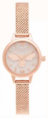 Olivia Burton Bracelete Lucky Bee com mini mostrador em ouro rosa OB16FB15