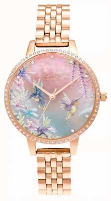 Olivia Burton Pulseira de ouro rosa com colibri brilhante OB16PP60