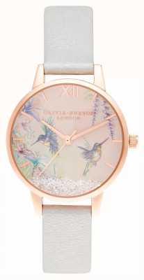 Olivia Burton Desejando asas midi brilho pérola e ouro rosa OB16PP61