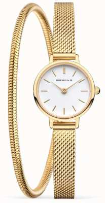 Bering Conjunto de presente de dia das mães | pulseira e relógio de malha de ouro 11022-334