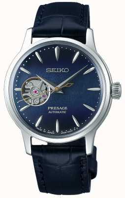 Seiko | presage senhoras mecânicas | couro de bezerro azul | mostrador azul SSA785J1