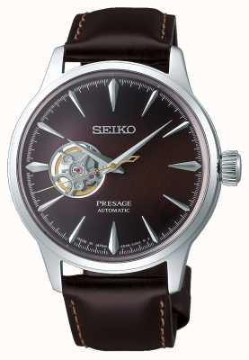 Seiko Presage senhores mecânicos   pulseira de couro de bezerro marrom   SSA407J1